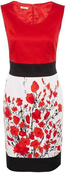Precis Petite Colour Block Floral Dress in Floral (red) - Lyst