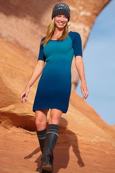 """Sleek, athletically elegant, sporty, and made to hug the curves. Made from a fast-drying blend of nylon and wool that warms and breathes, the waffle knit of the Roadster Dress fits every road sign from """"narrow straight-away"""" to """"dangerous curves ahead."""" 35"""" long. XS(2), S(4-6), M(8-10), L(12-14), XL(16)"""