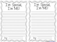 Fern's Freebie Friday ~ I'm Special, I'm Me! Writing Activity! #FREE #TPT #TeachersFollowTeachers #FernSmithsClassroomIdeas