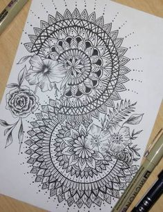 Flowers Drawing Doodles Mandalas 55 Best Ideas It is possible to work together with the pencil drawing technique to be a single color. On top of that, these studies wi. Doodle Art Drawing, Zentangle Drawings, Plant Drawing, Mandala Drawing, Mandala Painting, Pencil Art Drawings, Art Drawings Sketches, Zentangle Patterns, Tattoo Drawings