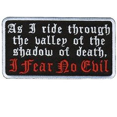 Fear No Evil Patch 4 inch biker patch