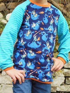 Langarmshirts - Bio Langarmshirt MEIN FREUND DER DRACHE - ein Designerstück von naehtante16 bei DaWanda