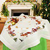 Kamaca - Kit per ricamare una tovaglia a punto croce, motivo natalizio con slitte e renne, tela con disegno prestampato, 80 x 80 cm, filo in 100% cotone