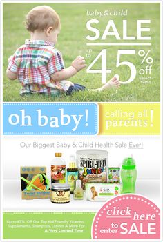 Up To 45% Off Top #Baby & #Child Health Products! Shop #Vitamins, Supplements, #Shampoos & More Specially Formulated For Your Little One :) Only at www.LuckyVitamin.com