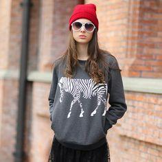 Veri Gude Women's Casual Pullover Animal Print Sweatshirt