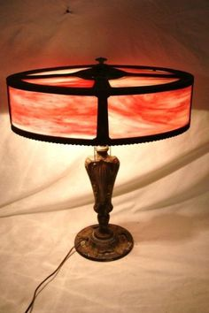 1920's Unusual lamp w oval stained glass shade : Lot 241