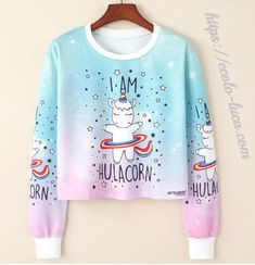 Cheap sweatshirt women, Buy Quality kawaii sweatshirt directly from China crop top jumper Suppliers: 2017 Harajuku Kawaii Sweatshirt Women Kpop Clothes Cropped Pullover Pineapple Unicorn Christmas Print Casual Crop Top Jumper Crop Top Hoodie, Cropped Pullover, Cropped Sweater, Hoodie Sweatshirts, Printed Sweatshirts, Girls Crop Tops, Blue Crop Tops, Crop Tops For Tweens, Ladies Tops