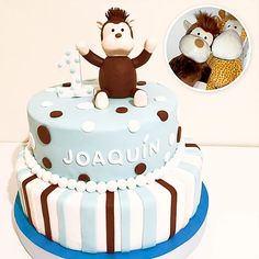 Two Tier Boy Cake - Monkey Cake / Torta 1 año para Varón - Monito Birthday Cake, Cakes, Desserts, Kids, Food, Pies, Sweets, Party, Tailgate Desserts