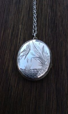 Antique Victorian Sterling Silver Back and Front Bird Locket Necklace