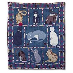 Features:  -Material: Cotton.  -Bed and home decor.  -Machine washable.  -Kitty Cats collection.  Size: -Throw.  Color: -Multi-Colored.  Material: -Cotton.  Theme: -Wildlife. Dimensions:  Overall Leng