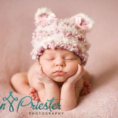 One of our highest selling products, this Cotton Candy Baby Bear Baby Hat from www.Melondipity.com is an ultra premium beanie with intricate detailing and extraordinarily difficult crocheting. This baby girl hat is handmade for newborn girls and has been a Bestseller for many years.  This product is only available in newborn and is constructed with ultra-soft white and pink interwoven cottons that form fit to newborn baby's head. The hat features pink and white ears with the cutest little…