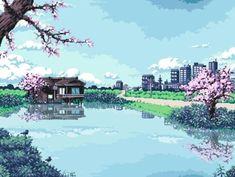 [OC][CC] Finally finished my third japanese themed pixel art; I tried portraying both the urban and rural side of Japan. Vaporwave, Orange Pastel, Foto Gif, 8 Bit Art, 8 Bits, Anime Pixel Art, Pixel Design, Kawaii, Retro Art