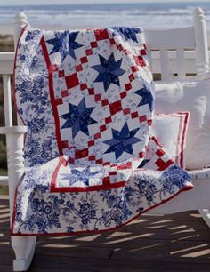 Free pattern for Oh My Stars red white and blue quilt - so fresh looking with toile border.