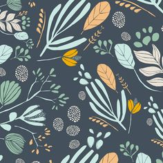 Navy Mint Peach and Mustard Floral Fabric, Morning Walk By Leah Duncan for Art Gallery Fabrics, Bare Nopal in Gloom, 1 Yard