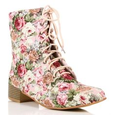 I want a pair!!  I am tired of myself, saying...i want!!   Pink Floral Lace Up Boots ($30) ❤ liked on Polyvore