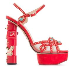 Charlotte Olympia Totem Sandals (7,040 SVC) ❤ liked on Polyvore featuring shoes, sandals, red, chunky platform sandals, red leather sandals, embellished sandals, high heel platform sandals and leather sandals