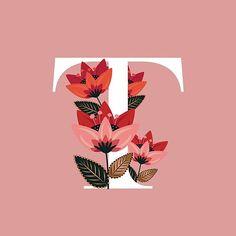 """Venice Floral Monogram T"" by werlangpaper Apple Logo Wallpaper Iphone, Flower Phone Wallpaper, Wallpaper Iphone Cute, Stylish Alphabets, Alphabet Wallpaper, Floral Letters, Cool Fonts, Paper Quilling, Flower Art"