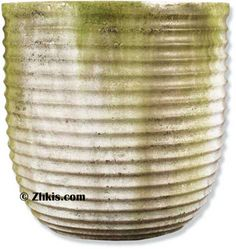 Unique oversize pot with ribbed sides and rustic looking finish. Made from durable fiber stone and designed for outdoor weather year round. Large Garden Planters, Front Porch Planters, Indoor Planters, Indoor Outdoor, Planter Pots, Outdoor Decor, Small Trees, Sculpting, Rib Sides