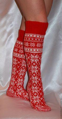 Купить Гольфы с норвежским узором - Новый Год, белый, гольфы, носки, подарок, орнамент, вязание Knitting Socks, Knitting Patterns, Wool, Handmade, Outfits, Projects, Fashion, Tricot, Knit Socks