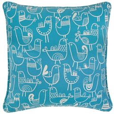 Snuggle up with this cute blue pillow! The polyester fabric is covered with a whimsical bird pattern, and the inside is filled with feather down. (Also available in Black and in Yellow.) Adina Pillow | Weekends Only Furniture and Mattress