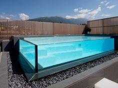 luxury glass swimming pool