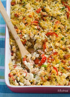 Quinoa Gratin with Cauliflower, Tomato and Chicken Sausage. Healthy gluten free casserole that is chock full of veggies with crispy Parmesan quinoa crust. | ifoodreal.com