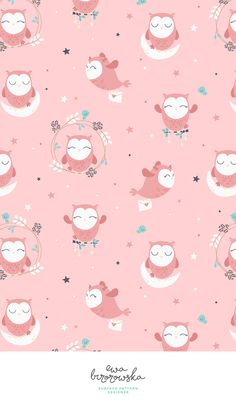 New Wallpaper Pattern Pink Textile Design Ideas Cat Pattern Wallpaper, Owl Wallpaper, Pink Wallpaper Iphone, Trendy Wallpaper, Cellphone Wallpaper, Cute Wallpapers, Textile Pattern Design, Surface Pattern Design, Textile Patterns