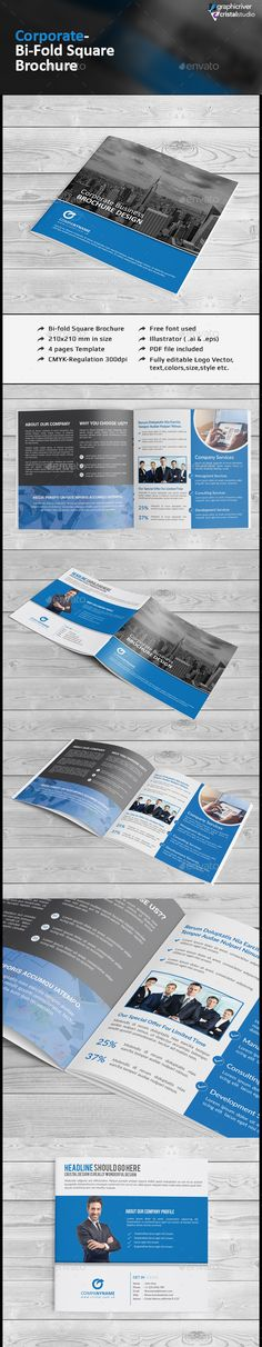 Square Bifold Brochure — Vector EPS #square brochure #design • Available here → https://graphicriver.net/item/square-bifold-brochure/12500859?ref=pxcr