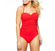 Fashion: Top 5 One Piece Bathing Suits. Beautiful red one piece #bathingsuits #modestishottest