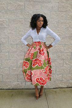 African Print Skirt: Marigold Tea Length