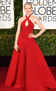 Taylor Schilling is radiant in red in this Ralph Lauren look!
