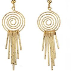 "STRING DANGLE EARRINGS HPTRENDING!!! Gold fashion dangle earrings. Wear these day or night life. LENGTH: 3.5"". -No trades. (2) Jewelry Earrings"