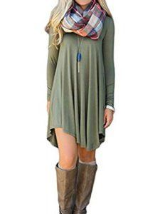 You have to love this sage green ladies fall dress.   I love the earth toned boots with it.   You can pair it with so many different accessories making this one of my favorite ladies fall dress.     DEARCASE Women's Long Sleeve Casual Loose T-Shirt Dress