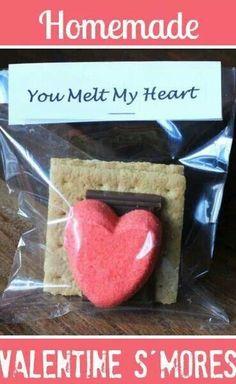 Valentine treats for josh's class. So cute!  I love you s'more