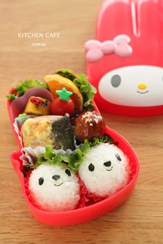 Animal Face Rice Balls Bento in Cute Sanrio's Lunchbox (My Melody)|弁当 Super love the lunchbox!