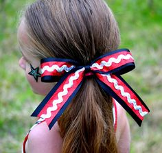 Cheer bow  Big sparkle cheer bow by MelsDesignBoutique on Etsy, $7.99 Blue instead of red- so cute!