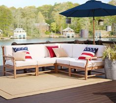 Build Your Own - Larkspur Teak Sectional Components | Pottery Barn