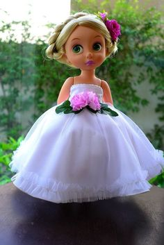 "flower princess dress (white) for Disney animator doll 16"", Disney Animator doll clothes"