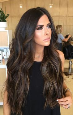 Great Lengths are the global leaders of ethically sourced, expertly-blended virgin remy hair extensions. Dark Brunette Balayage Hair, Hair Color Balayage, Balayage On Black Hair, Balyage For Dark Hair, Brunette Hair Colors, Haircolor, Dark Brown Balayage, Brunette Highlights, Dark Hair With Highlights