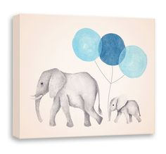 Elephant Painting Canvas Nursery Art Navy Blue by TheDaisyFields