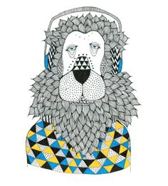 A print by Tina Mose that will suit anywhere  The Lion Eddie artwork is a limited edtion