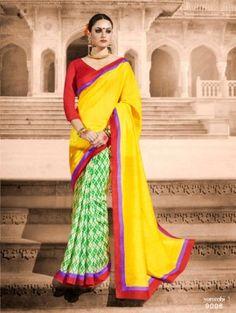 Maroon & Yellow BhagalPuri Silk Saree Ash 15