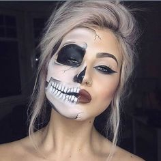 Eye-Catching Two-Face Makeup for Halloween Party