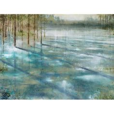 Found it at Wayfair - Water Trees Painting Print on Wrapped Canvas