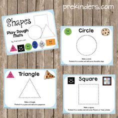 I have a growing collection of play dough counting mats, and thought Shape Play Dough Mats would be a nice addition to the Math Play Dough Mats sets. Preschool Classroom, Preschool Learning, Kindergarten Math, Early Learning, Fun Learning, Playdough Activities, Preschool Activities, Preschool Shapes, Shape Activities