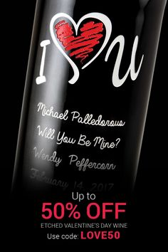 Truly unique Valentine's Day gift for your sweetheart! Customize a bottle of wine with a beautiful, one-of-a-kind etched design. Use promo code and get up to off! Valentines Day Wine, Unique Valentines Day Gifts, Valentine Treats, Happy Valentines Day, Personalized Wine Bottles, Personalized Gifts, Custom Gifts, Love Gifts, Gifts For Him