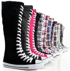 Canvas Sneakers Ladies Flat Tall Punk Womens Skate Shoes Lace up Knee High Boots: Women Knee High Tall Lace Up Sneaker Boots Knee High Converse, Knee High Sneakers, Converse All Star, Knee High Boots, Diy Converse, Converse Logo, Galaxy Converse, Lace Sneakers, Sneakers Women