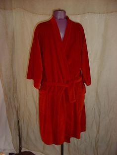 Vintage Mens Robe Velour Bathrobe size Medium Large 2 pockets Burnt Orange