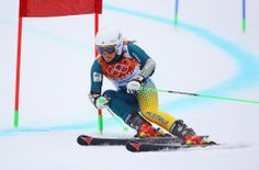 DAY 12:  Lavinia Chrystal of Australia competes during the Alpine Skiing Women's Giant Slalom http://sports.yahoo.com/olympics