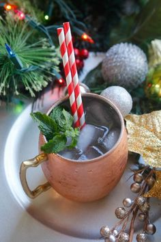 Candy Cane Christmas Mule recipe- combining ginger beer and peppermint vodka for a festive Holiday cocktail